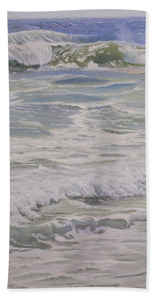 Beach Beach Towel featuring the painting Beach Lace by Lea Novak