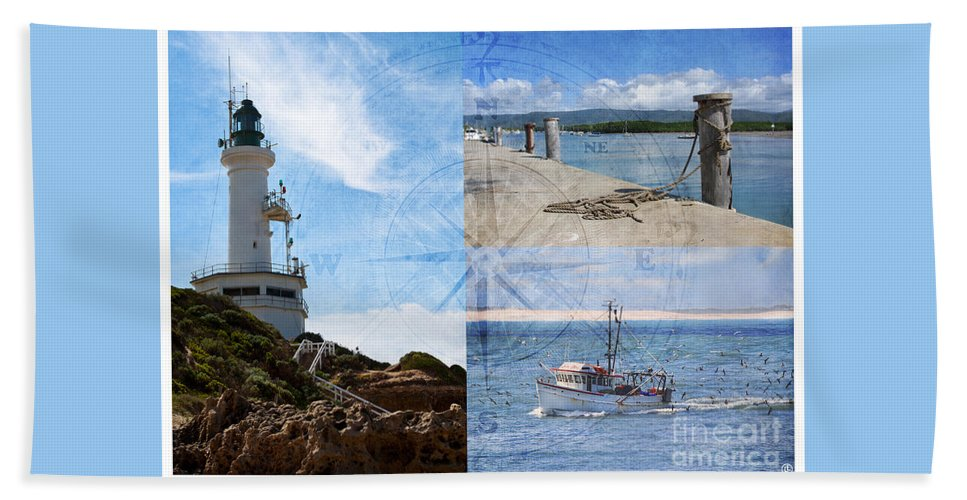 Fishing Beach Towel featuring the photograph Beach Triptych 2 by Linda Lees