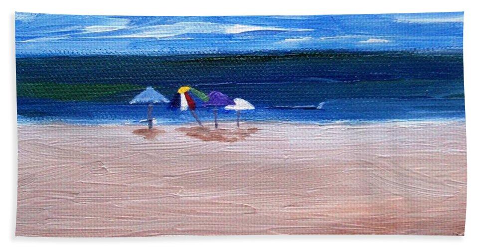 Beach Beach Towel featuring the painting Beach Umbrellas by Jamie Frier