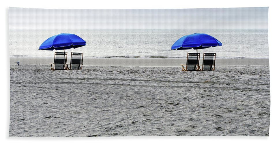 Hilton Head Beach Towel featuring the photograph Beach Umbrellas On A Cloudy Day by Thomas Marchessault