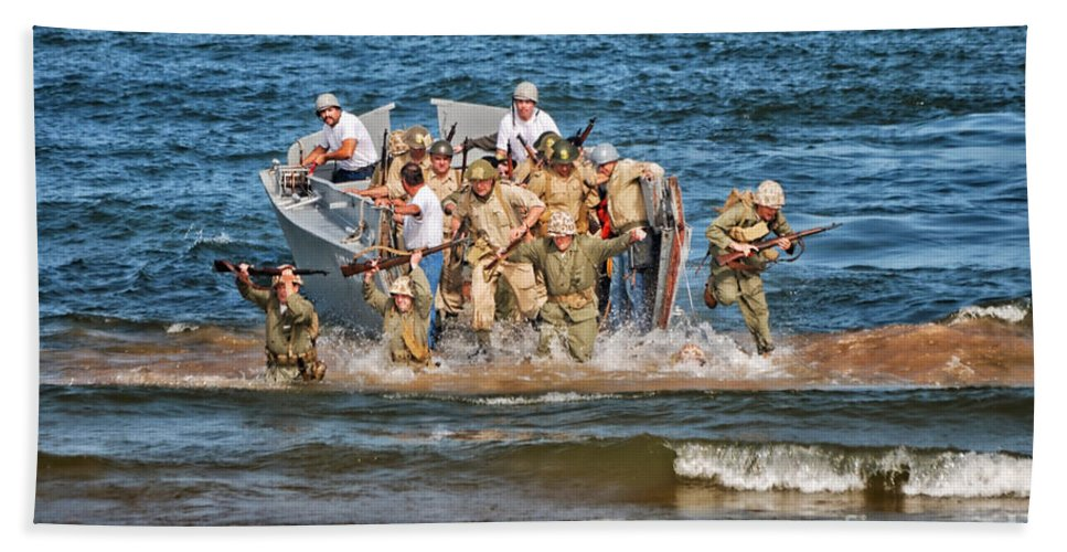 Us Navy Beach Towel featuring the photograph Beachhead Re-enactment Landing by Thomas Woolworth