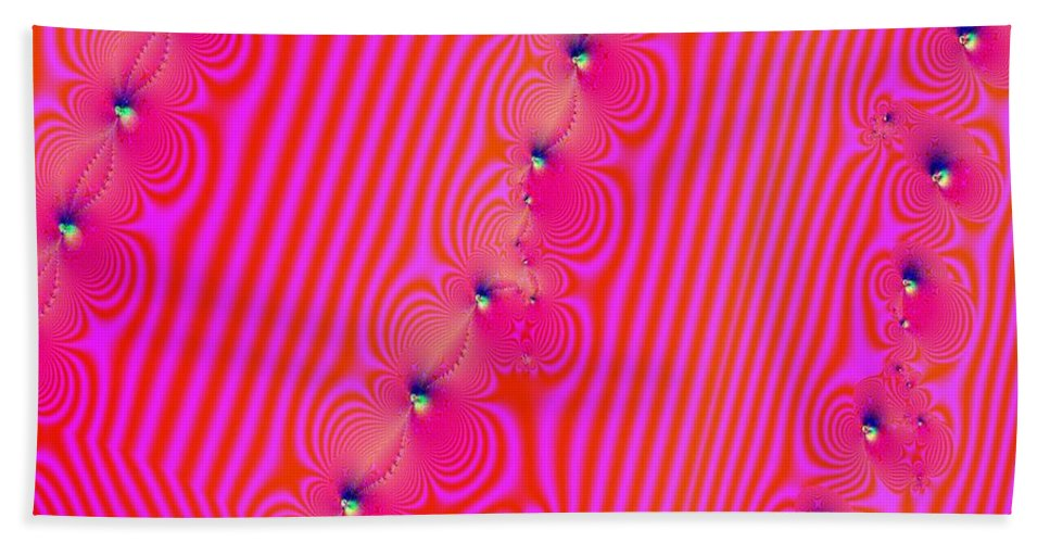 Fractal Beach Towel featuring the digital art Beaded Pink by Luther Fine Art