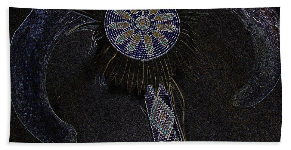 Native American Beach Towel featuring the digital art Beaded Staff 4 by Lovina Wright