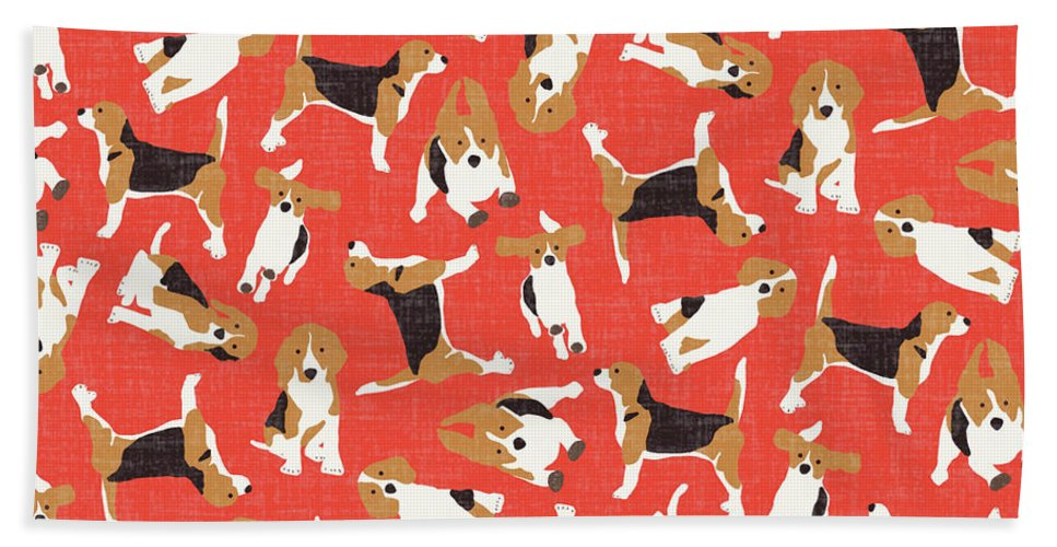 Beagle Beach Towel featuring the drawing Beagle Scatter Coral Red by MGL Meiklejohn Graphics Licensing