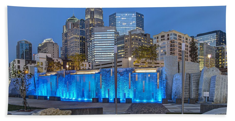 Romare Bearden Park Beach Towel featuring the photograph Bearden Blue by Chris Austin