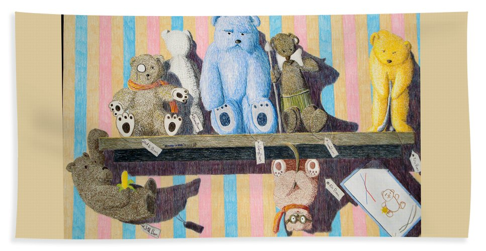 Still Life Beach Towel featuring the painting Bearly There by A Robert Malcom