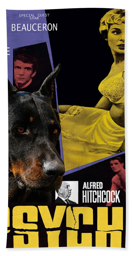 Beauceron Beach Towel featuring the painting Beauceron Art Canvas Print - Psycho Movie Poster by Sandra Sij