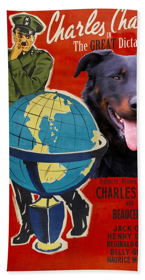 Beauceron Beach Towel featuring the painting Beauceron Art Canvas Print - The Great Dictator Movie Poster by Sandra Sij