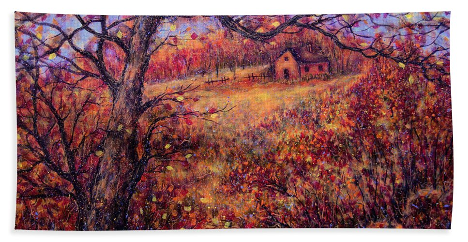 Autumn Beach Sheet featuring the painting Beautiful Autumn by Natalie Holland