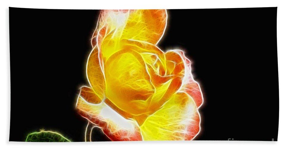 Beautiful Blooming Yellow Rose Beach Towel featuring the digital art Beautiful Blooming Yellow Rose by Mariola Bitner