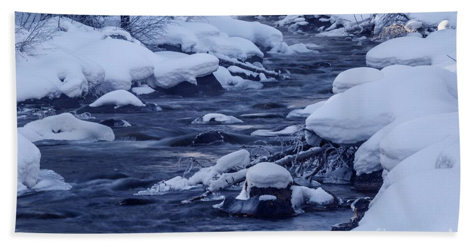 Winter Beach Towel featuring the photograph Beautiful Creek In Winter In Stanley Idaho by Vishwanath Bhat