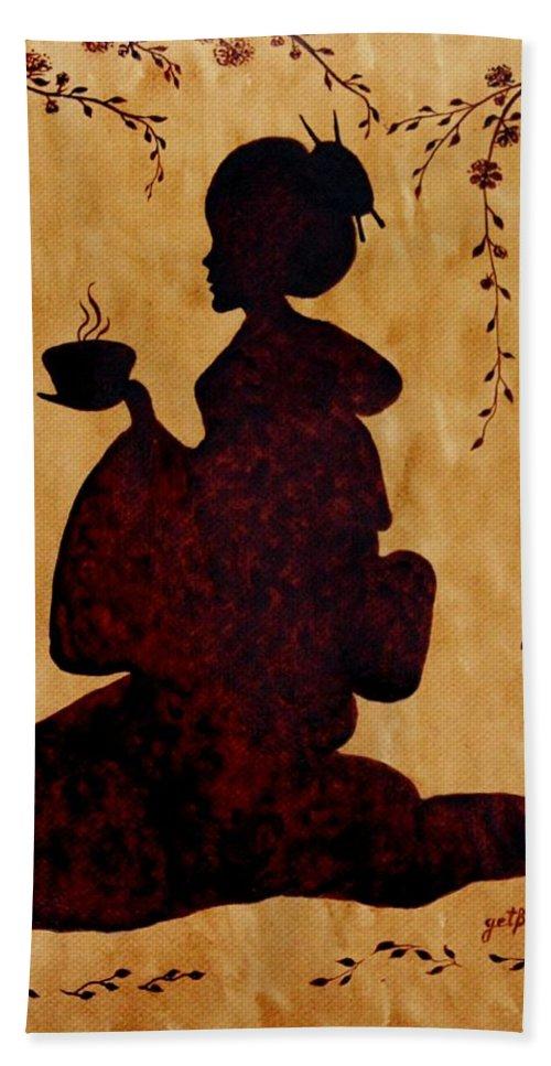 Geisha Coffee Art Painting Beach Towel featuring the painting Beautiful Geisha Coffee Painting by Georgeta Blanaru