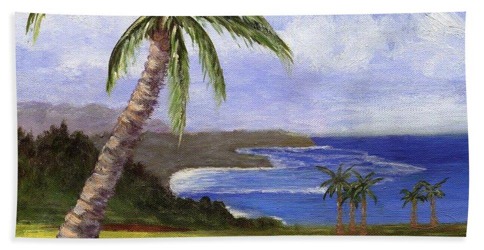 Palm Tree Beach Towel featuring the painting Beautiful Kauai by Jamie Frier