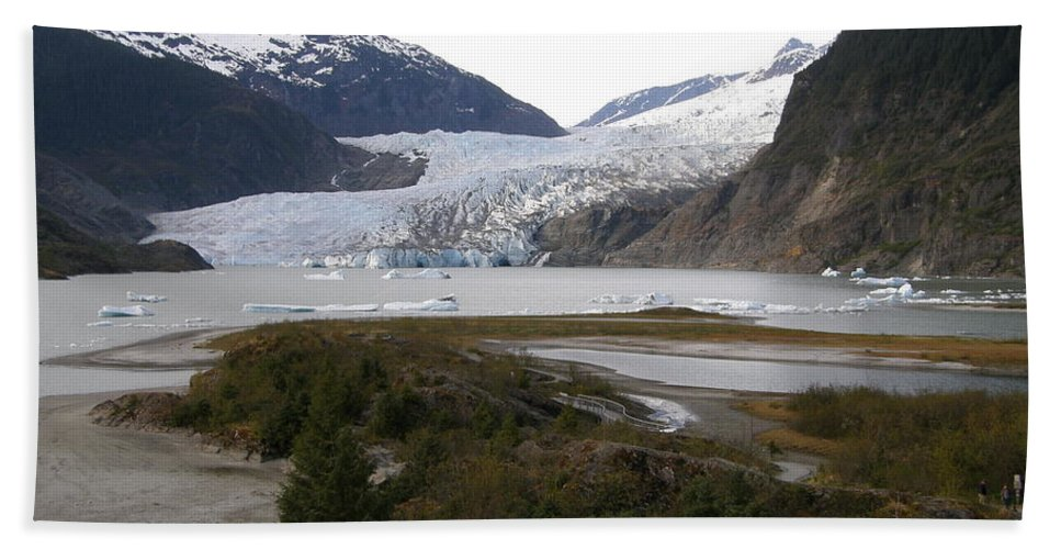 Mendenhall Beach Towel featuring the photograph Beautiful Mendenhall Glacier by Bev Conover