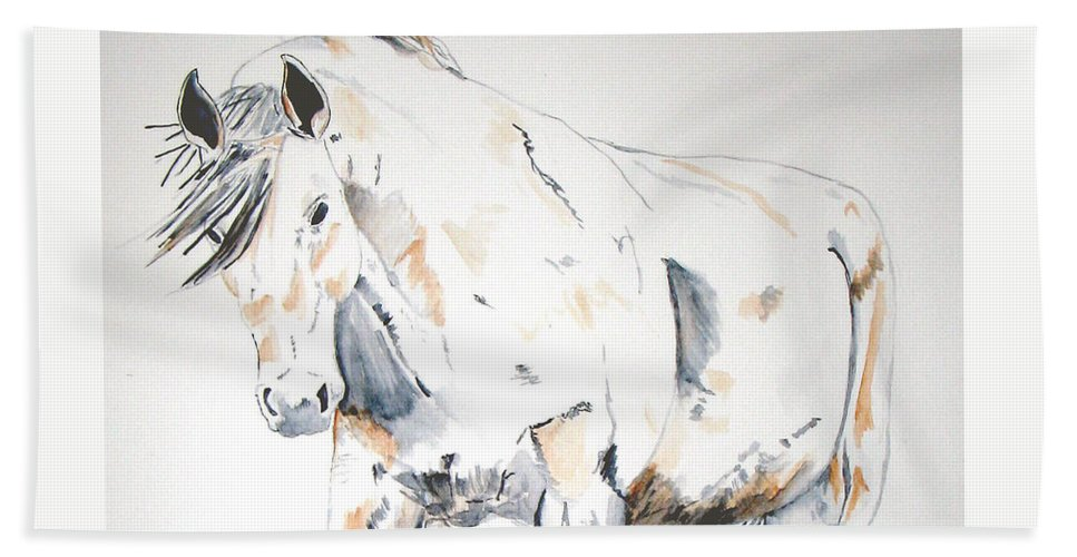 Horse Beach Towel featuring the painting Beauty by Crystal Hubbard