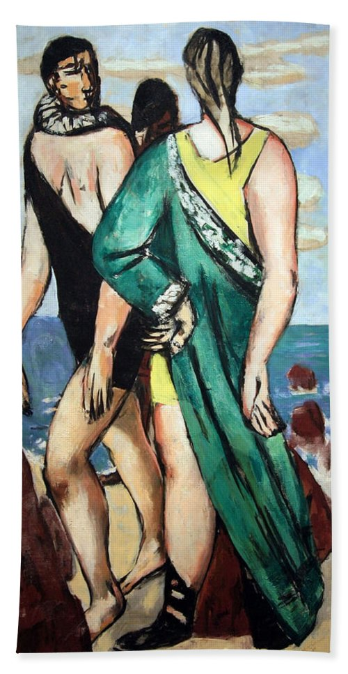 Bathing Beach Towel featuring the photograph Beckman's Bathing Scene -- The Green Cloak by Cora Wandel