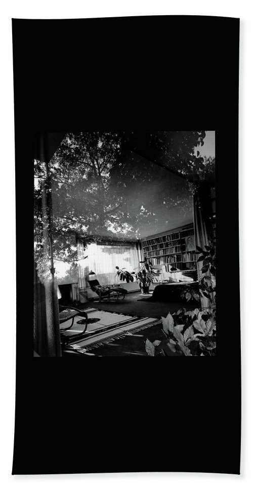 Home Beach Towel featuring the photograph Bedroom Seen Through Glass From The Outside by Robert M. Damora