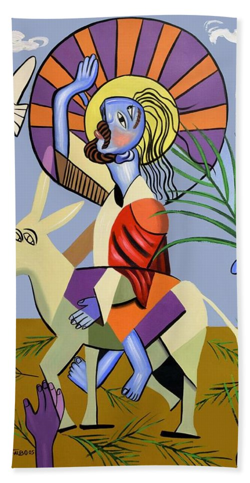 Behold The Lamb Of God Beach Towel featuring the painting Behold The Lamb Of God by Anthony Falbo