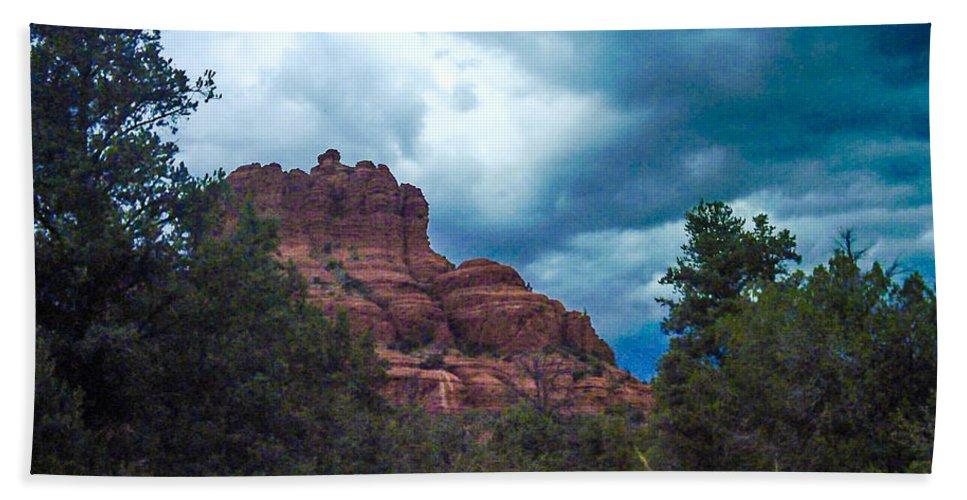 Photo Beach Towel featuring the photograph Bell Rock Drama Sky by Tamara Kulish