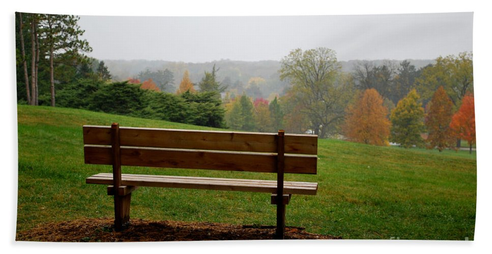 Bench Beach Towel featuring the photograph Bench at the Morton Arboretum by Nancy Mueller