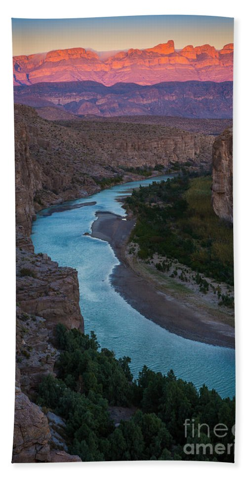 America Beach Towel featuring the photograph Bend In The Rio Grande by Inge Johnsson
