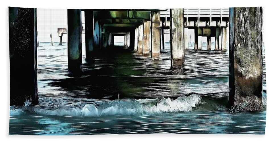 Beneath The Pier Beach Towel featuring the painting Beneath The Pier by L Wright