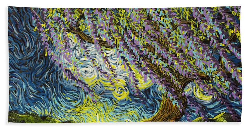 Squiggleism Beach Towel featuring the painting Beneath The Willow by Stefan Duncan