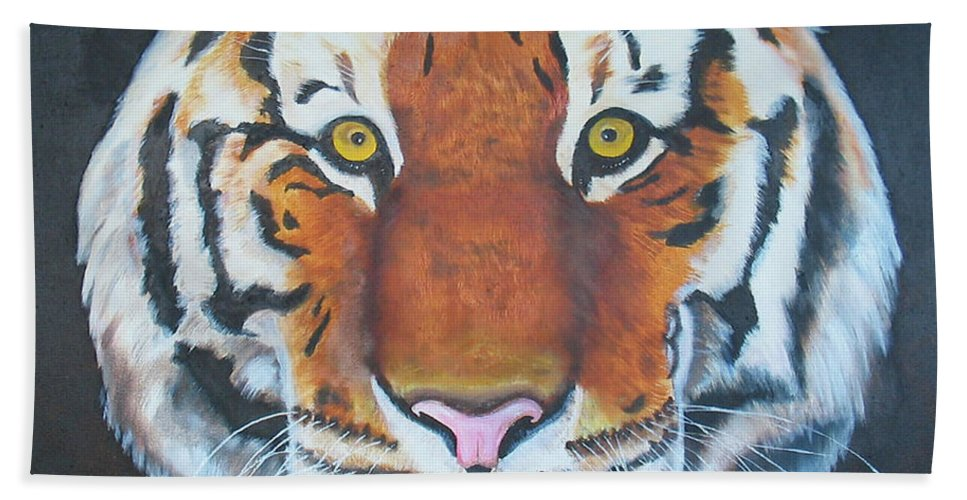 Bengal Beach Towel featuring the painting Bengal Tiger by Thomas J Herring