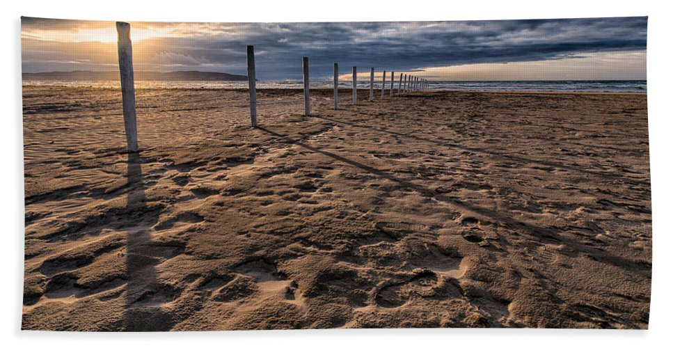 Downhill Beach Towel featuring the photograph Benone Beach Posts by Nigel R Bell