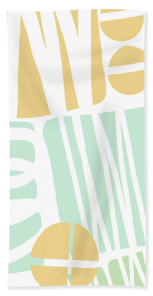 Abstract Beach Sheet featuring the mixed media Bento 1- Abstract Shape Painting by Linda Woods