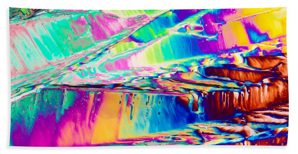Abstract Beach Towel featuring the photograph Benzoic Acid Crystals In Polarized Light by Stephan Pietzko