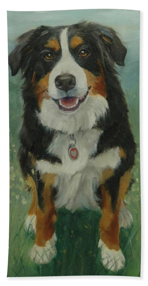 Dog Beach Towel featuring the painting Bernese Mountain Dog by Pet Whimsy Portraits