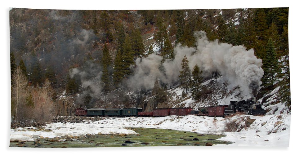 Steam Train Beach Towel featuring the photograph Beside The Animas River by Ken Smith