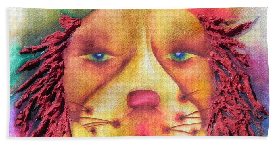 Fine Art Painting Beach Towel featuring the painting Best In Show Dog A Tude One by Chrisann Ellis
