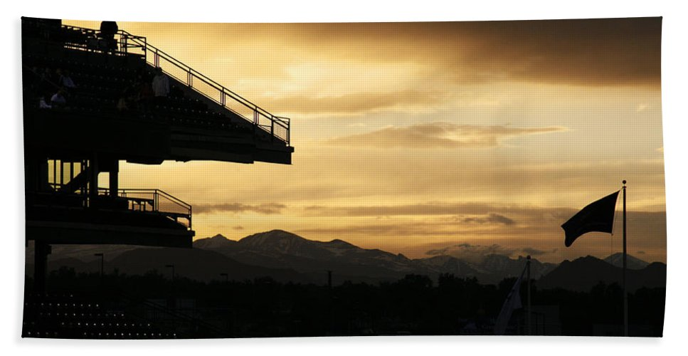 Americana Beach Sheet featuring the photograph Best View Of All - Rockies Stadium by Marilyn Hunt