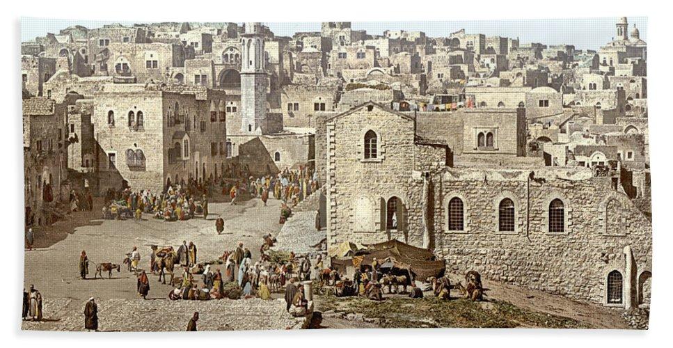 Bethlehem Beach Towel featuring the photograph Bethlehem Manger Square 1900 by Munir Alawi