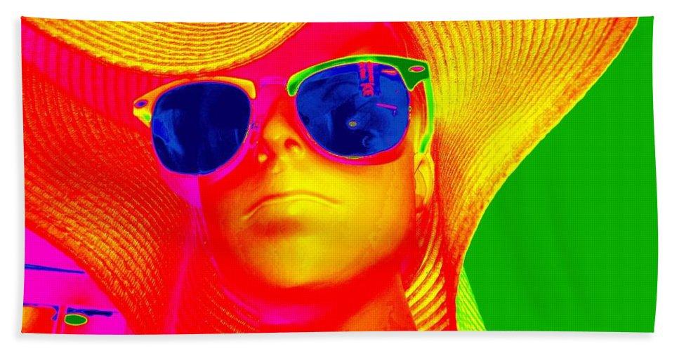 Pop Art Beach Towel featuring the digital art Betsy In Blue Sunglasses by Ed Weidman