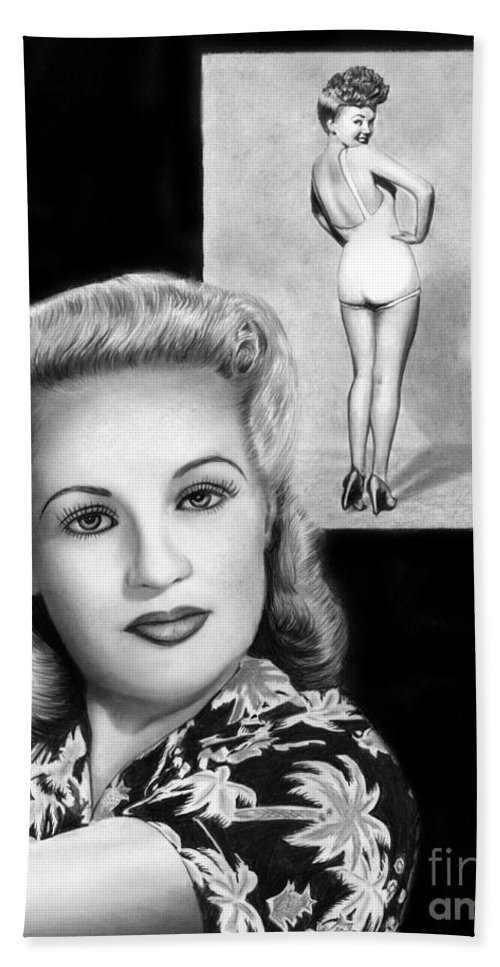 Betty Grable Beach Towel featuring the drawing Betty Grable by Peter Piatt