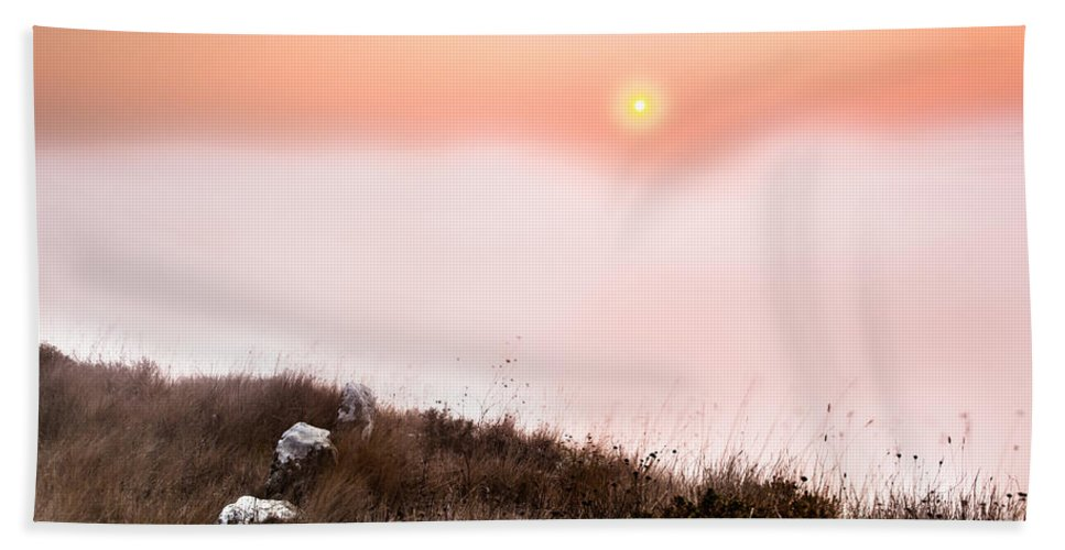 Sunrise Beach Towel featuring the photograph Between Rocks And The Sunrise by Edgar Laureano