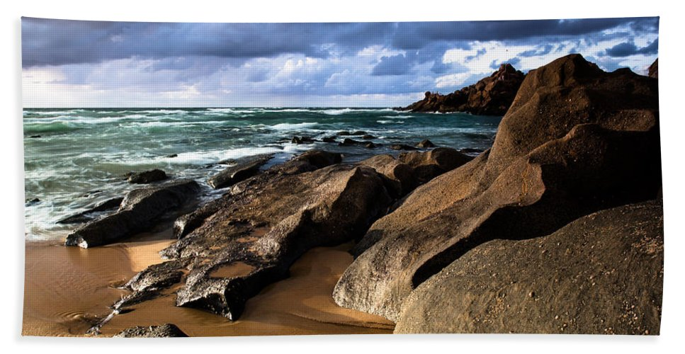 Beach Beach Towel featuring the photograph Between Rocks And Water by Edgar Laureano