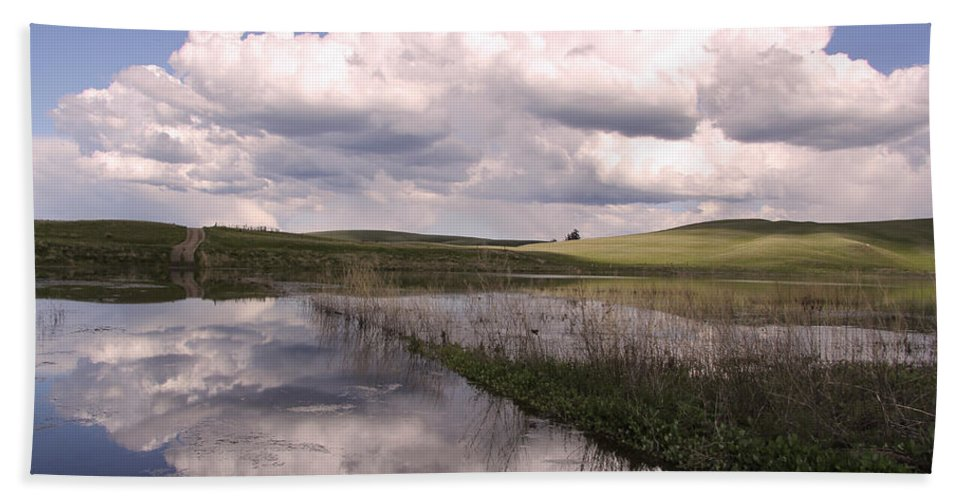 Landscape Beach Towel featuring the photograph Between Storms by Kathy Bassett