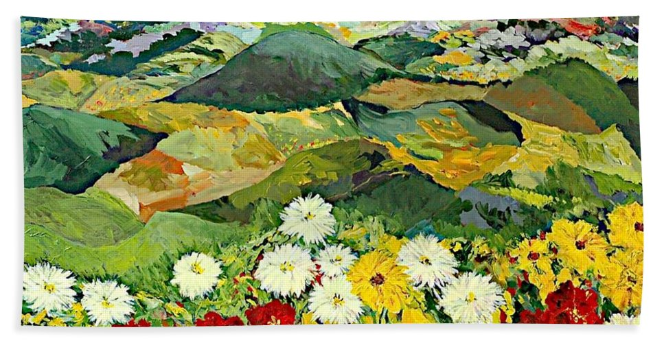 Landscape Beach Towel featuring the painting Bewitching Twilight by Allan P Friedlander