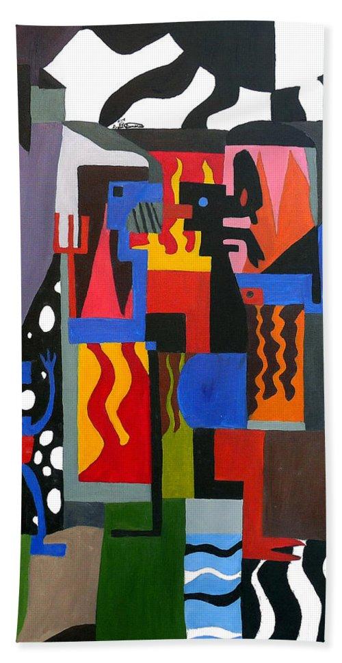 Abstract Beach Towel featuring the painting Bicloptochotik by Ryan Demaree