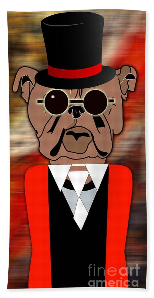 Bull Dog Beach Towel featuring the mixed media Big Bull Dog by Marvin Blaine