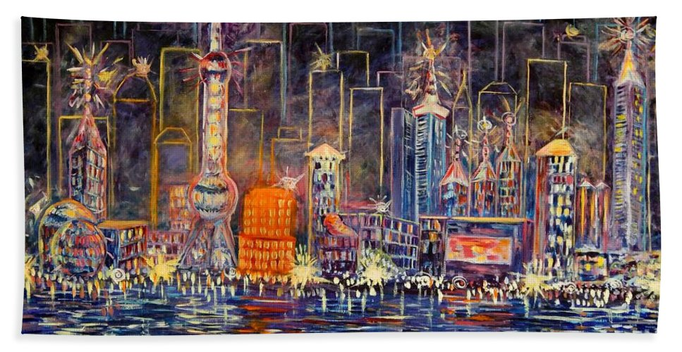 Cityscape Beach Towel featuring the painting Big City Lights by Caroline Street