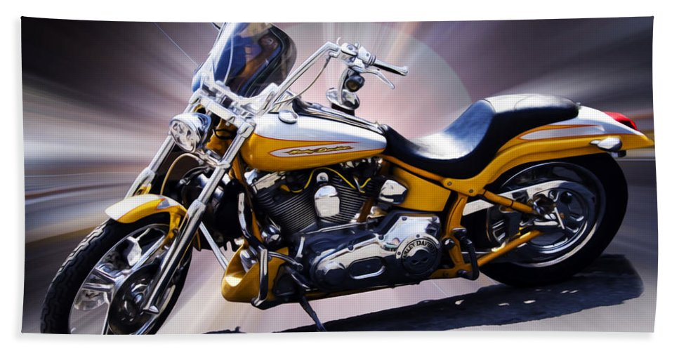 Motorcycle Beach Towel featuring the photograph Big Hog by Hal Halli