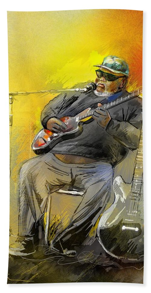 Blues Beach Towel featuring the painting Big Jerry In Memphis by Miki De Goodaboom