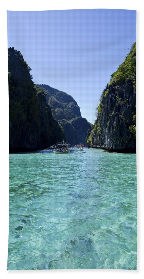 El Nido Beach Towel featuring the photograph Big Lagoon In Palawan by Darren Burton