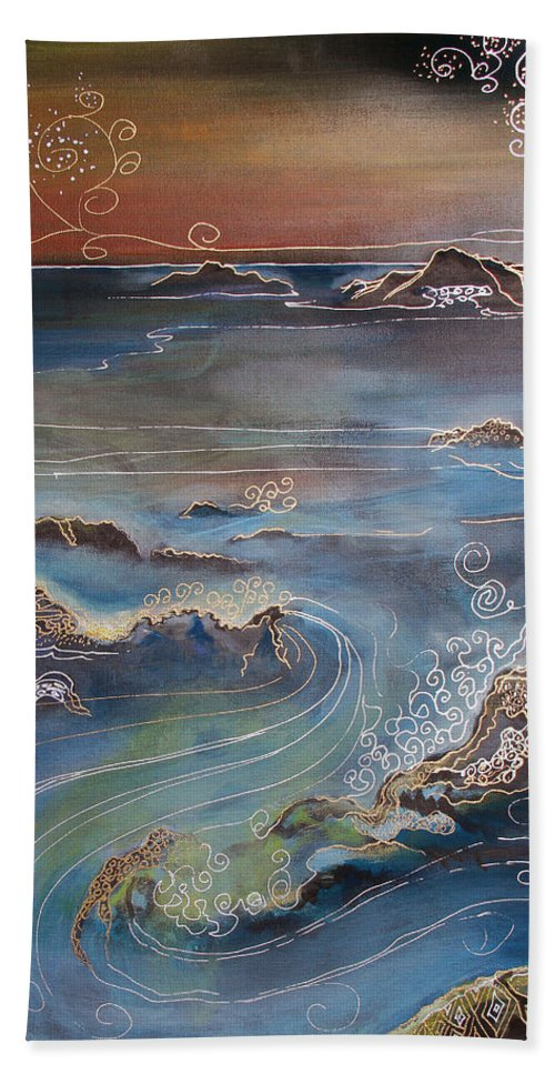 Drawing Beach Towel featuring the painting Big Sur In Sunset by Gideon Cohn