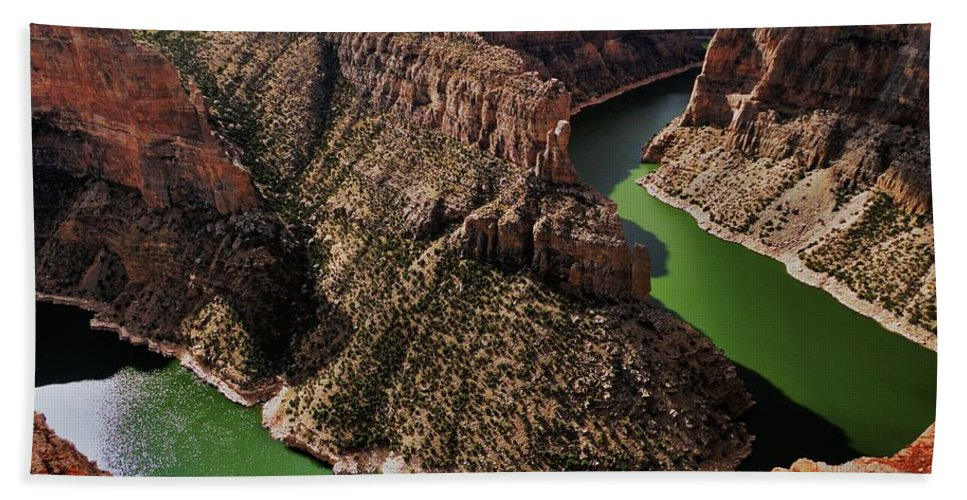 Bighorn Beach Towel featuring the photograph Bighorn Canyon by Benjamin Yeager